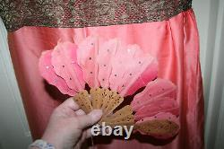 Antique 1920s Evening Outfit of Dress Shoes Garters Fan Headdress all boxed