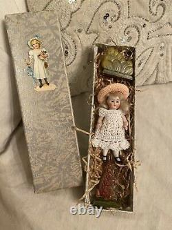 Antique German 3.5 All Bisque Doll With Antique Box And Accessories Dollhouse