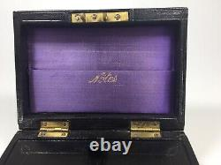 Antique Victorian Leather Over Wood Personal Keepsake Box All Original 1870s