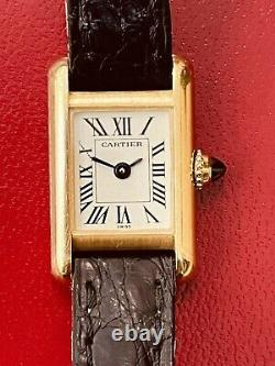 Cartier Mini Tank Vintage Yellow Gold All Original With Cartier Box (701)