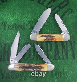 Case xx Complete 8 Knife Blue Scroll Set 1977 All Stag Etched Unused Wood Box