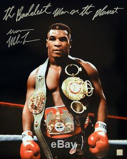 Iron Mike Tyson Autographed Signed 16x20 Photo Wearing All His Belts ASI Proof