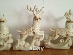 Lenox For the Holidays Dash Away All Santa and His Reindeer 6 pc Original Boxes