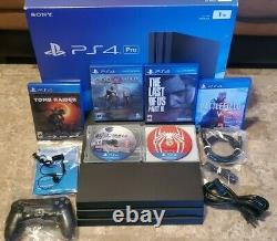 PS4 Pro 1TB Jet Black With 6 Games, Original Box And All Cables The Last of us 2