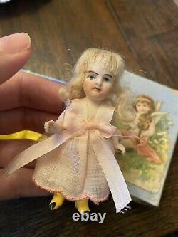 Tiny Antique German All Bisque 3.25 Yellow Boot Kestner Doll Small Die Cut Box