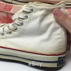 VTG 70s Converse Mens 6 Blue Label All Star Hi Top Made in USA White Shoes w Box