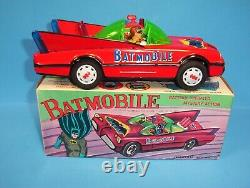 Vinatge 1970's Batmobile Tin Battery Operated Working All Original With Box