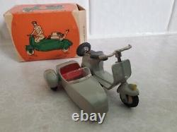 Vintage Tekno VESPA SCOOTER with SIDECAR No 443 Denmark All Original with BOX RARE